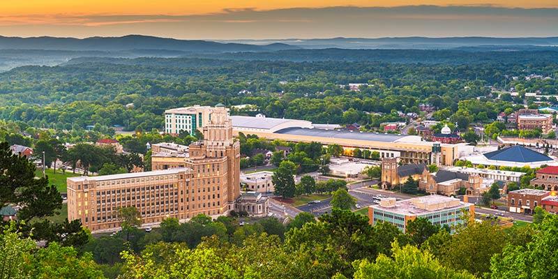 aerial view of Hot Spring, Arkansas